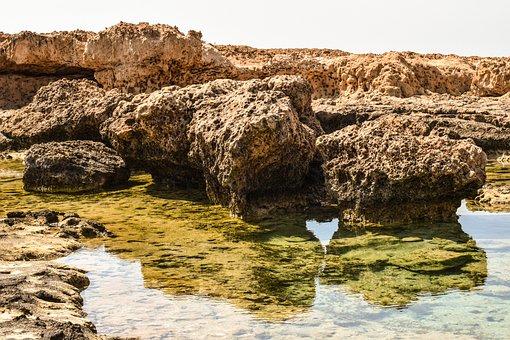 Rocky Coast, Lagoon, Sea, Landscape, Rock Formation