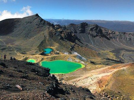 Mountain, Volcano, Lake, New Zealand, Water, Suffers