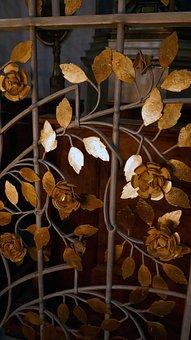 Grid, Demarcation, Leaves, Golden, Metal, Ornament