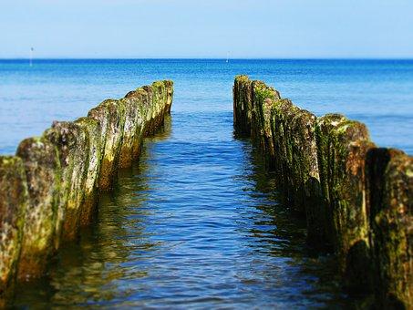 Sea, Water, Pale, Breakwater, Nature, Landscape, View