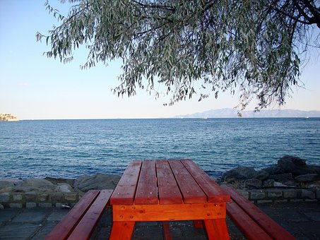 Europe, Greece, Kavala, Bench, Sea, Beach, Rock