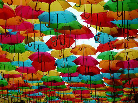 Umbrellas, Colorful, Shade Tree, Colorful Umbrella