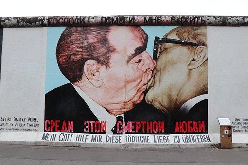 Kiss, Men, East, Side, Gallery, Berlin, Berlin Wall