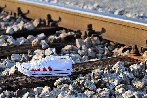 Stop Teenager Suicide, Bloody Sneaker On Railway