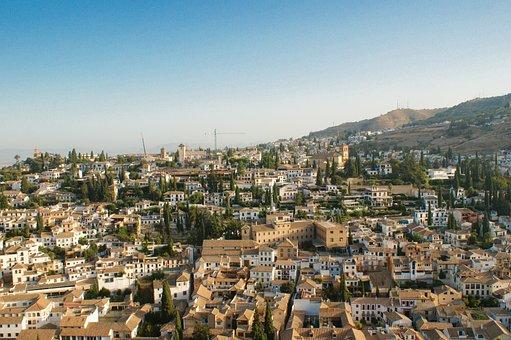 City, Bird's Eye View, Granada, Spain, Summer, Sun