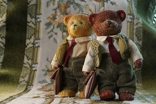 Two Bears, Partnership, Cute, Childhood, Cooperation