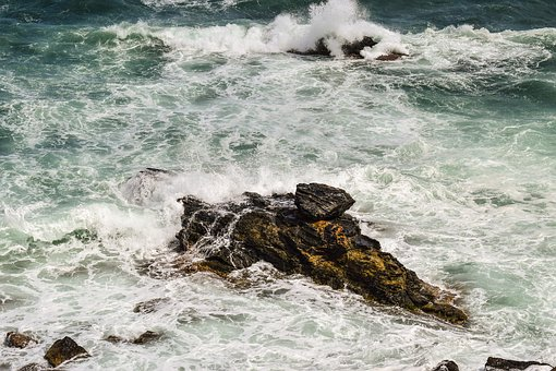 Rock, Sea, Waves, Erosion, Rough Sea, Nature