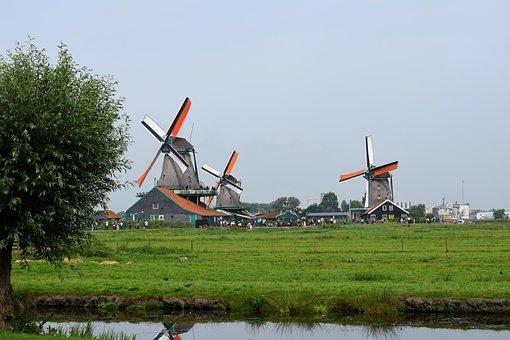 Windmills, Dutch Landscape, Landscape, Netherlands