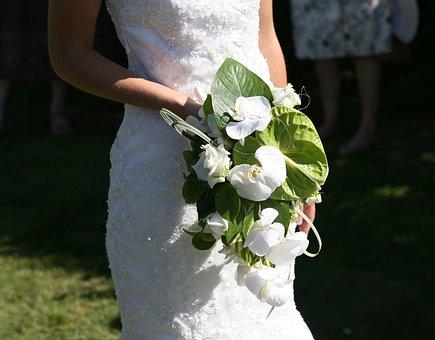 Wedding, Bride, Bouquet, Wedding Dress