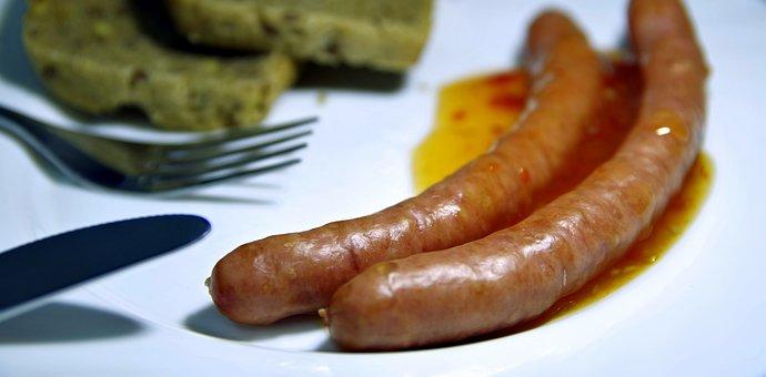 Sausages, Frankfurterki, Breakfast, Dinner, Fork, Knife