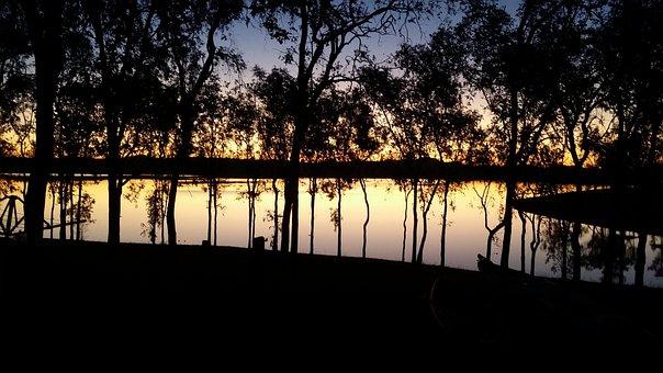 Sunset, Dam, Lake, River, Lake Wivenhoe