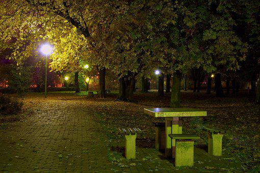 Park, Evening, Night, Lamp, Dining Table, Sleep