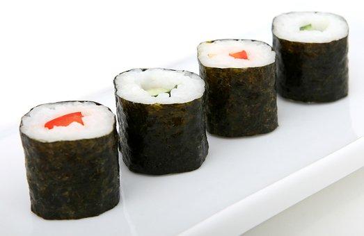 Asian, Cucumber, Dish, Fish, Food, Fresh, Green, Maki
