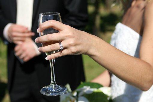 Wedding, Celebration, Cheers, Alcohol, Bride, Groom
