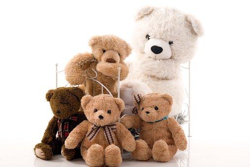 Family, Group, Teddy Bear, Bears, A Few, Bed, White