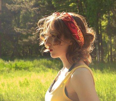 Girl, Summer, Sun, Stroll, Sunset, Hair, Redhead