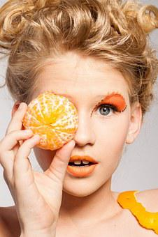 Woman, Portrait, Makeup, Model, Fruit, Tangerine