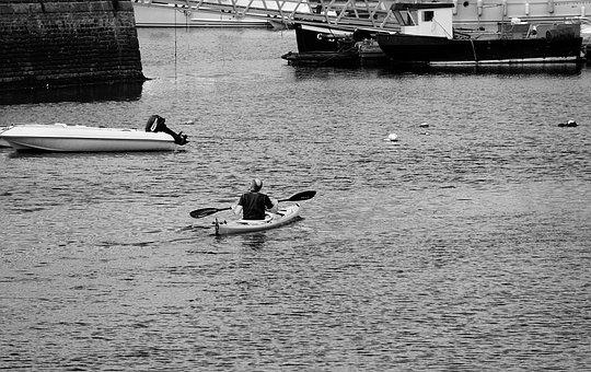 Canoe, Oar, Water, Sport, Recreation Black And White