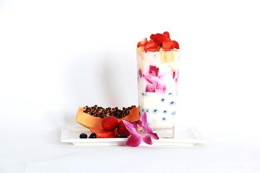 Fruit, Yogurt, Papaya, Strawberry, Health, Diet, Cup