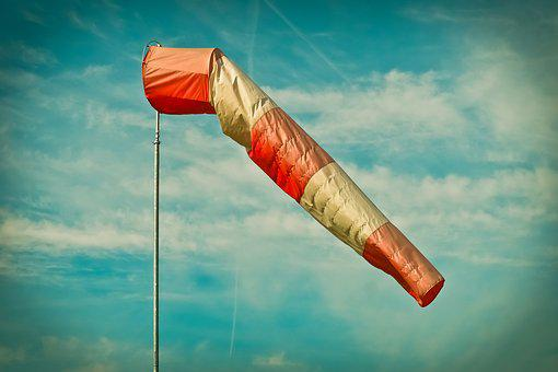 Wind Sock, Pole, Sky, Air Bag, Weather, Striped
