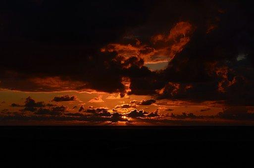 Sunset, Mood, Sea, Lighting, Borkum, Red Clouds