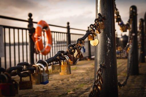Docks, Padlock, Chain, Romantic, Ring, Barrier, Urban