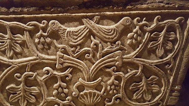 Romanesque, Frieze, Pigeons, Faith, Ornaments