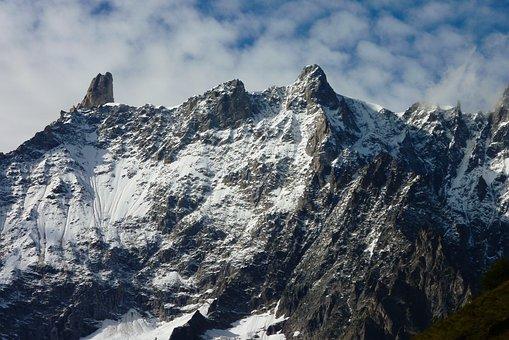 Clouds, Mountain, Crest, Snow, Rock, Sky, Landscape