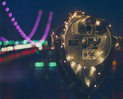 Nyc, New York, Skyline, Lights, Travel, Bridge