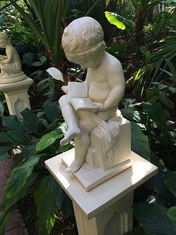 Read, Book, Sitting, Child Reading, Statue, Garden