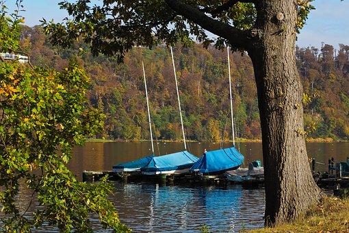 Lake, Autumn, Nature, Trees, Landscape, Boats