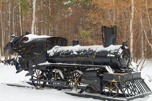 Steam Locomotive, Monument, Iron, Snow, Park, Trees