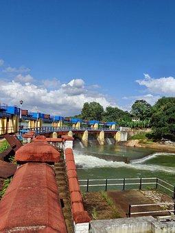 Aruvikara, Dam, Water, Shed, Blue, Landscape, Sky