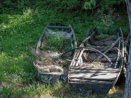 Boats, Old, Wooden, Vessel, River, Wood, Vintage