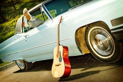 Classic Car, Boots, Acoustic Guitar, Baby Blue, Blue