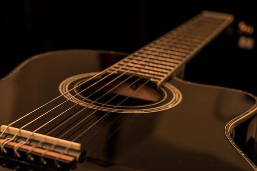 Guitar, Acoustic, Black, Music, Band, Live Music, Stage
