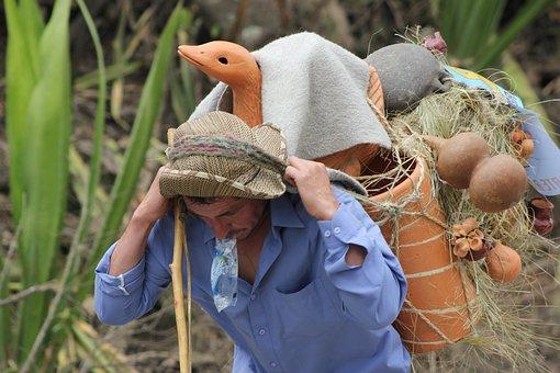 Peasant, Field, Worker, Art, Colombia, Man