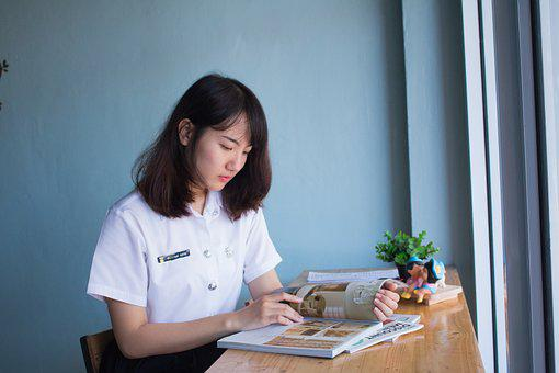 Book, Women, Girl, Read, Asian, Student, Magazine