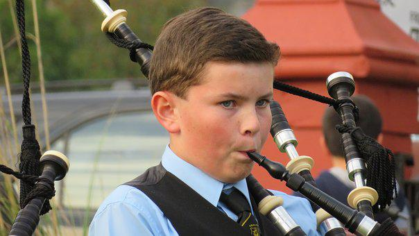 Bagpipes, Scotland, Child, Young People, Music