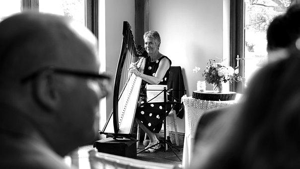 Harp, Black And White, Instrument, Music, Black, White