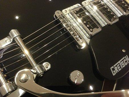 Black, Guitar, Gretsch, Electric, Rock, Musician, Music