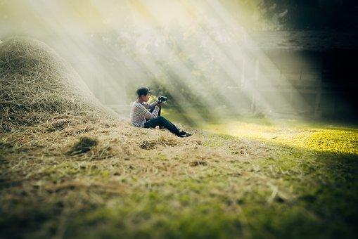 Farmer, Laos, Boy, Countryside, Stack Of Hay, Light