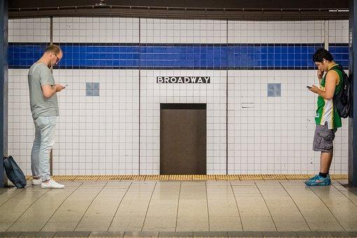 Broadway, Station, Phone, Men, Subway, Metro, Manhattan