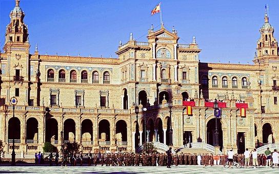 Spain, Sevilla, Holiday, Parade, Square, Building