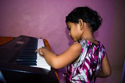 Cute Girl Playing Piano, Little Girl, Piano, Child