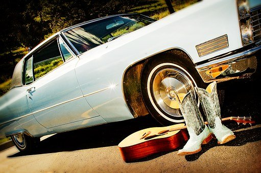 Classic Car, Guitar, Boots, Baby Blue, Blue, Light Blue