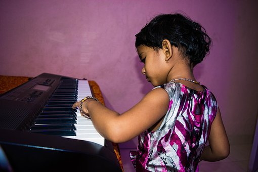 Cute Girl Playing Piano, Little Girl, Piano, Child
