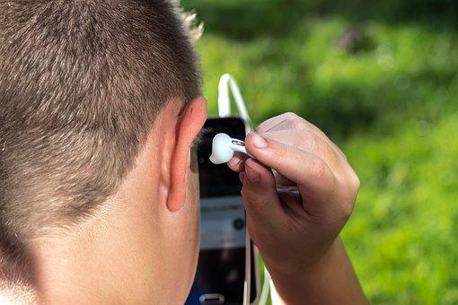 Headphones, Ear Plug, Head, Ear, Hand, Listen
