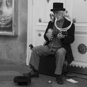 Black And White, One Man Band, Street, Elegant, Hat