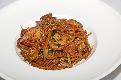 Noodles, Asian, Food, Plate, Restaurant, Prawns, Pasta